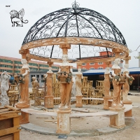 China Marble Garden Gazebos Stone Lady Statues Relief Hand-Carved With Iron Dorm wholesale