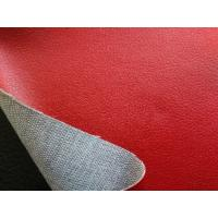 China PU Polyurethane Leather Fabric , Red Faux Leather Upholstery Material wholesale