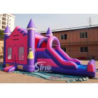 China 4in1 pink kids party inflatable princess bounce house with slide from Guangzhou Inflatable factory wholesale