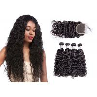 China No Tangling 100% Water Wave Hair Bundles With Closure Water Resistant wholesale