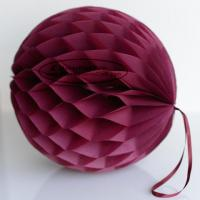 Buy cheap Burgundy Tissue Paper Honeycomb Balls Pom Poms With Loop For Hanging from wholesalers