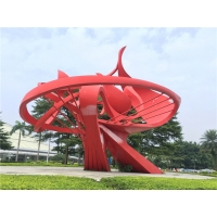 China Abstract Flame Large Metal Garden Ornaments , Red Spray Painted Outside Garden Statues wholesale