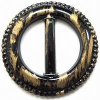 China Plastic Round Buckle, Comes in Black/Gold-painted Color, with 35mm Center Bar wholesale