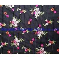 China Flowers Embroidery Black 100 polyester fabric for Kids' and Women's wholesale