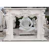 China White Marble Fireplace Large Stone Flower Relief Fireplace Hand Carved Home Freestanding wholesale