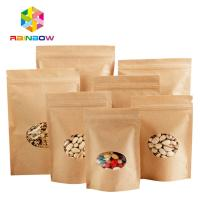 China Stand Up Ziplock Kraft Customized Paper Bags With Polyethylene And Clear Window wholesale