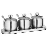 China Kitchen Stainless Steel Cookwares Sugar Bowl With Clear Lid 3 Serving Spoons on sale