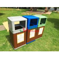 China Wood Plastic Composite Trash Cans Weather Resistant For Park / Garden Outdoor wholesale