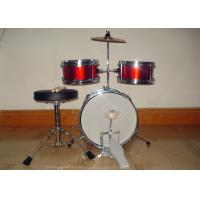 China 3 Piece Junior Red Acoustic Kids Drum Set Middle Size With Cymbal / Throne MU-3KM wholesale