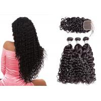 China No Tangling Brazilian Hair Weave Bundles With Closure Can Be Dyed And Premed wholesale