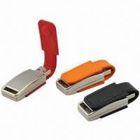 China 4GB Leather USB Flash Drives with Customized Leather Color and Logo Files wholesale