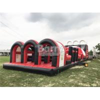 China Red Great Commercial Obstacle Course Bounce House  , Inflatable Rush Extreme Obstacle wholesale