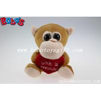 China Valentines Day Gifts Big Eyes Toy Series Brown Monkey Animal With Heart Pillow wholesale