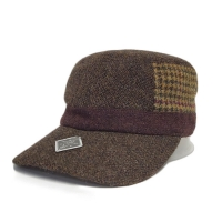 China Hot sale wool Customized grid the side blank Flex fit Military Cadet Cap sports Hats Caps wholesale
