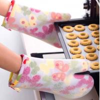 China Transparent Silicone Cooking Gloves , Silicone Heat Gloves Butterfly Pattern wholesale