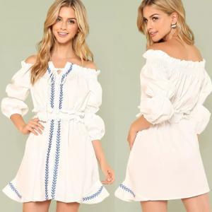 China Wholesale Clothing Lantern Sleeve Shirred Waist Women Boho Embroidered Dress on sale