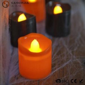China Black Orange Plastic Halloween LED Tea Light Candles 6 Set RoHS wholesale