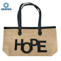 China Recycle Handle Zipper Promotional Cotton Jute Bag on sale