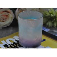 China Unique Design Glass Candle Holders Feather Painted Candle Glass Jars wholesale
