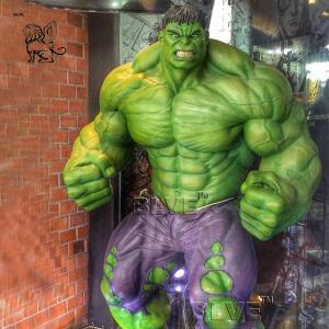 China Marvel Superhero Fiberglass Hulk Statue Life Size Resin Sculpture wholesale