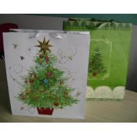 200gms Merry Chfristmas Gift Customized Paper Bag With Ribbon Handle