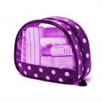 China Printed Transparent Waterproof Purple Pvc Makeup Bags For Travelers wholesale