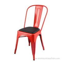China Customized Color Living Room Metal frame Tolix Cafe Chair With Cushion wholesale