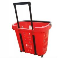 China Virgin PP Wheeled Shopping Trolley Durable Pull Lift Plastic Basket 2Pcs Handle wholesale