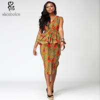 China Modern Short Sleeve African Style Print Dresses Medium Length V Neck Blue Color wholesale