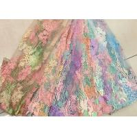 China 3D Beaded Lace Fabric , Scalloped Multi Color Floral Embroidered Fabric For Skirt wholesale