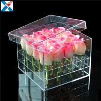 China Durable Square Acrylic Flower Box Makeup Organizer Rose Storage Cosmetic Case wholesale