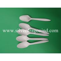 Quality Corn starch spoon with 14.5cm length in white color for sale