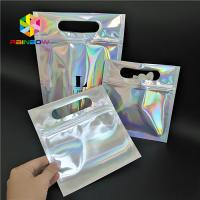 China Skincare Cosmetic Packaging Bag Hologram Foil Bath Salt Packing With Window / Hanger wholesale