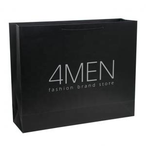 China Custom Matt Lamination Luxury Black Packaging Paper Bags For Clothes Packaging on sale