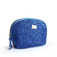 Buy cheap Custom Blue Travel Zipper Cosmetic Bags With Metal Company Logo from wholesalers