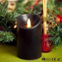 Buy cheap Multi - Colored Led Black Pillar Candles with Real Flame for Home Decor from wholesalers