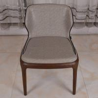 China PU Leather Dark Grey Restaurant Furniture Modern Dining Chair with Solid Wood Leg wholesale