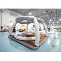 China Inflatable Water Floating Mat Island With Roof Tent Inflatable Aqua Banas Water Tent For Leisure Time wholesale