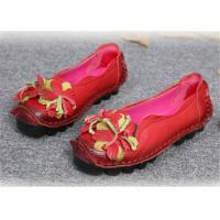 China Original handmade leather Comfortable Trendy Shoes for ladies , red yellow blue on sale