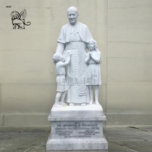China BLVE Stone Saint St. Paul II And Children Statue Marble Religious Sculpture Life Size Roman Catholic Pope wholesale