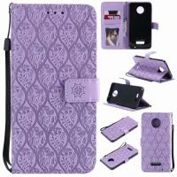 China Moto Z Force Leather Protective Case with Flower Embossed Pattern on sale