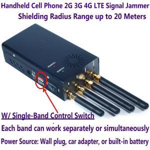 China 4 Antenna Handheld Cell Phone 2G 3G 4G LTE Signal Jammer Blocker W/ Single Control Switch wholesale