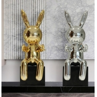 China Interior Abstract Epoxy Resin Sculpture , Handicraft Works Rabbit Figurines Statues wholesale