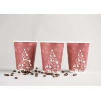 China Recyclable 12oz Disposable To Go Coffee Cups With Plastic Cover , Red Color wholesale