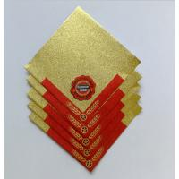 China Golden Aluminum Custom Foil Stickers Embossing Lacquer Coated Surface wholesale