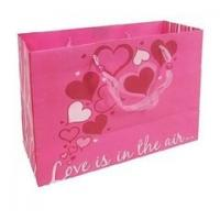 Customized Handle Paper Bag for Shopping / Heart Gift Paper Bags for Souvenir