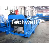 China Metal Top Ridge Tile Roll Forming Machine With 15 Forming Stations , PLC Control System wholesale