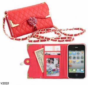 China Bling Bling Rhinestone Wallet Flip Case for iPhone 4s Handbag Long Chain Design on sale