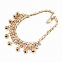 China Metal linked necklace, decorated with acrylic diamond and little ball, OEM/ODM orders are welcome on sale
