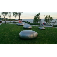 China Stone Metal Outdoor Sculpture Abstract , Surface Brushed Mirrored Garden Sculpture Decoration wholesale